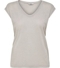 t-shirt korte mouw only t-shirt femme silvery manches courtes col v lurex