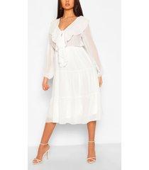 chiffon ruffle front midi dress, white