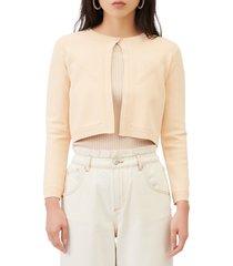 women's maje one button crop cardigan, size 2 - beige