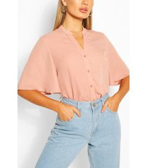 angel sleeve button down woven top, terracotta