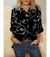 camicetta con stampa astratta modello a maniche lunghe con colletto alla coreana con bottoni