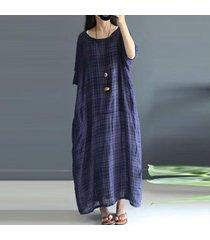 zanzea de lino de la tela escocesa de las mujeres larga túnica de algodón para el verano o del cuello media manga vestido azul marino -azul