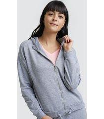buzo mujer con cordón color gris, talla 10