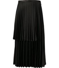 comme des garçons noir kei ninomiya tiered pleated satin skirt - black