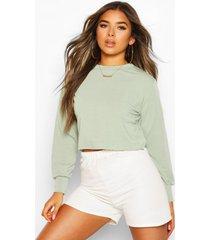 petite oversized kort sweatshirt, kaki