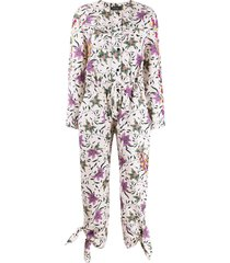 isabel marant floral print long-sleeve jumpsuit - neutrals