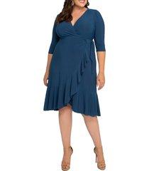 plus size women's kiyonna whimsy wrap dress, size 2x - blue