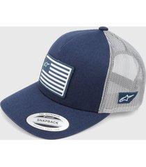 gorra azul navy-gris alpinestars