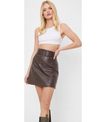 womens belt of my love faux leather mini skirt - chocolate