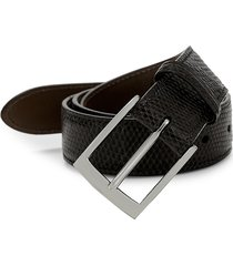 saks fifth avenue men's boxed lizard leather belt with interchangeable buckles - black - size 34