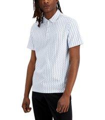 dkny men's bowery classic-fit geo-print polo shirt
