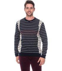 blusa slim passion tricot listras finas marinho