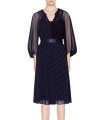akris punto women's two-tone polka dot belted silk dress - black cream - size 12