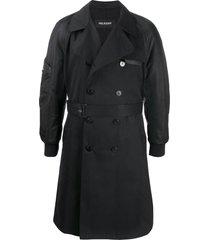 neil barrett bomber-sleeve trench coat - black