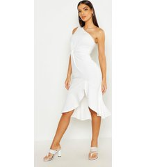 one shoulder knot front frill midi dress, white