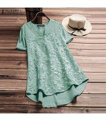 zanzea mujeres más tapa del tamaño floral tee camiseta con cuello en v de la llamarada básico sólido túnica de la blusa -verde