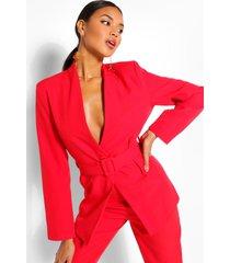 collarless belted blazer, red