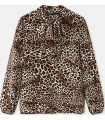 camicetta casual allentata a maniche lunghe annodata con stampa leopardata per donna