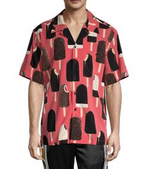 dolce & gabbana men's ice cream-printed silk shirt - red - size 39