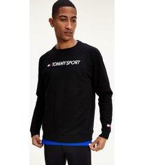 tommy hilfiger men's performance fleece logo sweatshirt black - xl