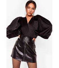womens inflated ego petite balloon sleeve bodysuit - black