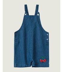 macaquinho jeans com bordado zig zig zaa azul - m