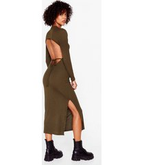 womens snap open back to reality tie midi dress - olive