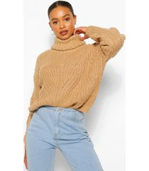 pointelle roll neck sweater, camel