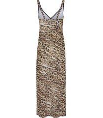 mouwloze jurk met gevoerde buste van opera bruin