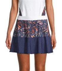 eleven by venus williams women's colorblock swing skirt - blue multi - size xs