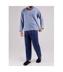 pijama moletom masculino azul marinho