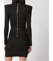 balmain women's short long sleeve high neck lurex knit dress - noir - fr 40/uk 12