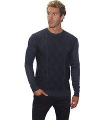 suéter jacquard em relevo john sailor mescla marinho - kanui