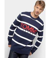 malha tommy jeans bold logo sweater masculino