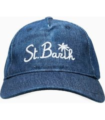 denim cap with embroidery and bandanna patch