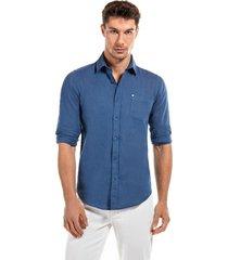 camisa lino azul new man