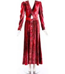 sandra mansour red velvet maxi dress red sz: s