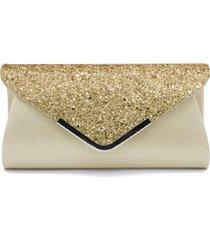 bolsa clutch liage envelope brilho glitter e metal alça removível prata dourada - tricae
