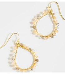 lunette stone teardrop earrings - pale pink