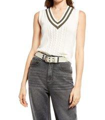 bp. collegiate sweater vest, size x-small in ivory- olive prep stripe at nordstrom