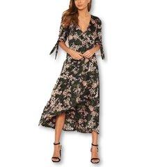 ax paris women's floral wrap dress with ties