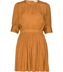 satin jacquard mini dress korte jurk oranje by ti mo