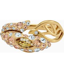 anello graceful bloom, marrone, placcato oro