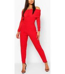 off the shoulder mesh sleeve skinny leg jumpsuit, red