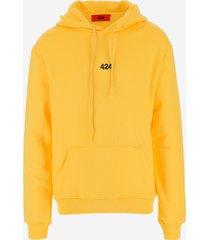 424 designer sweatshirts, 424 sun yellow cotton men's hoodie