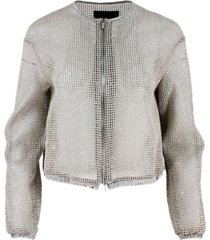 fabiana filippi mesh bomber jacket with micro sequins and silk trims