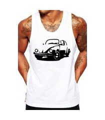 camiseta regata criativa urbana fusca carro antigo clássico branco.