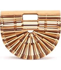 bolsa clutch de bambu isla galerias pequena cor marrom e natural