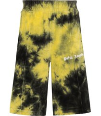 palm angels tie-dye chenille track shorts - green