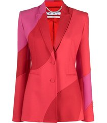 red and pink virgin wool blend blazer